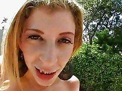 Outdoor loving Sara Jay feels the monster boner digging her twat from behind