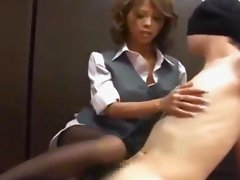 Hot Office Lady In Pantyhose Dominating Blindfolded Guy Pinching Nipples Rubbing Cock With Legs On The Floor In The Office