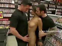 Indonesian prostitute all naked in a shop is fucked in public group sex and with clitoris vibrator and toys and deep her throat in nasty video scene