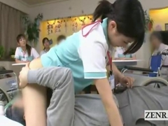Subtitled Japanese bottomless caretaker fellatio party