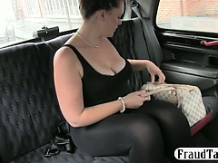 Chubby amateur gets creampie jizzed by a cheeky taxi driver