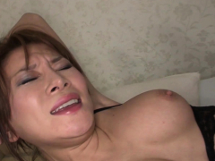 Asian in lingerie gets her hairy pussy pleased with toys