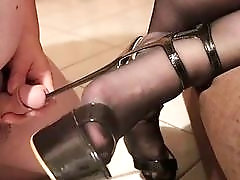 Babe in high heels dominates dude's small pathetic cock harshly
