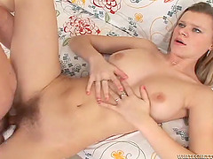 He fucks her tight pussy deep and hard then cums all over her big bush