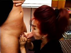 Still hot mature lay Cynthia gives man such a good blowjob after flashing tits
