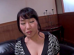 Chubby Asian slut with massive tits enjoying a hardcore doggy style fuck