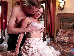Sweetly feminine girl in a ruffled dress fucks her master