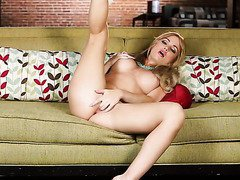 Yummy fair haired sex doll present amazing solo on sofa