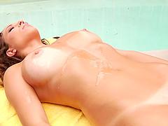 Manuel Ferrara seduces and fuck Lily Love on the poolside