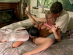 Retro MILFs get fucked and toyed in threesome video