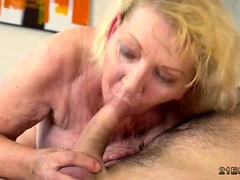 Old blonde eats ass and gets fucked