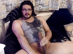 Amazing sexy dude with huge cock cumming many many times!