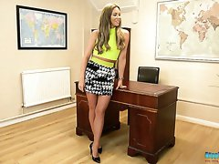Horny secretary Natalia Forrest does not mind stripping at work