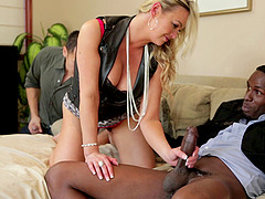 Her husband licks her feet while a black guy fucks her pussy