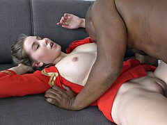 Sexy fly attendant fucks a black pilot in her room
