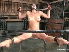 Busty blond haired nymph took pleasure having hard BDSM fuck with her stud