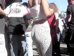Girl in skin tight leopard pants