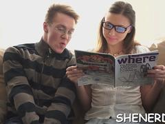 Seducing teen in glasses