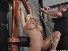 Busty submissive blonde babe loves getting roped in awkward positions