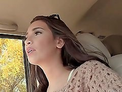 Brunette Olivia can't resist sucking him off in the car