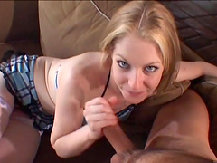 Blonde slut rides a hard throbbing pecker
