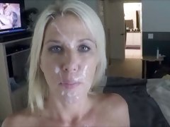 Dirty blonde blue eyed wife of my buddy got facial cumshot