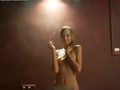 Sexy naked babe smokes a cigarette and talks to me