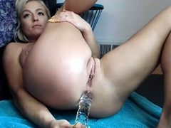 Big breasted blonde mom drills her tight anal hole on webcam