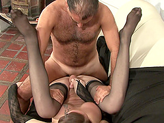 Shemale in stockings spreads her legs for a lover's penis