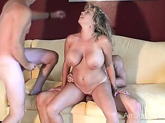 Hot swinger MILF sucks and fucks 2 guys
