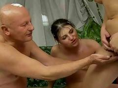 Grandpa and two hairy girls pissing and fucking