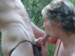 Amateur Blonde Blows Dude Outdoors And Gets A Facial Cumshot