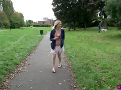 Lucy Lauren flashes her really sexy rounded bum while walking