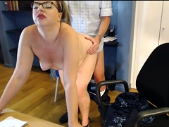 Curvy blonde with lovely boobs takes it doggystyle on webcam