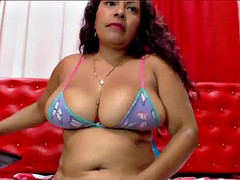 huge tits latin milf shows hot pussy