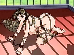 Roped anime threesome dildoed pussy