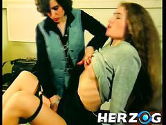Horn-mad pussy masturbation in vintage style will blow your mind