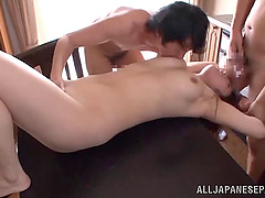 Two guys slam a curvy Asian girl and cum on her face