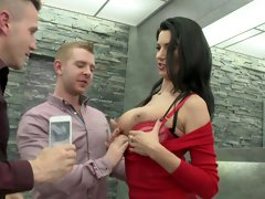 Ania Kinski spreads legs for two men in dirty threesome