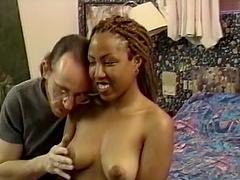 Ebony Natalie giving dick blowjob then fucked in interracial porn