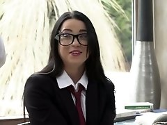 Perverted blonde Kayla Green masturbates her muff while BF fucks brunette hottie in glasses