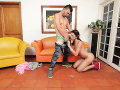 Dirty shemale Alexa Campbell makes her horny lover lick her butthole