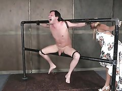 Dominant hoe London River fists lubed asshole of tied up buddy