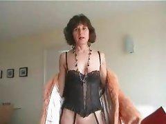 Mature in Fur Coat and Stockings