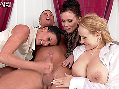 Three beauties in blouses riding dick in a piss soaked scene