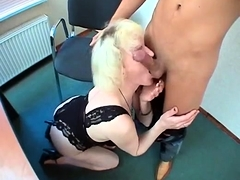 Mature plumper takes big young cock