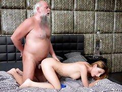 Teen cutie pie enjoys heavy sex with old bearded man