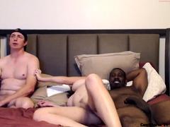 Bodacious amateur brunette enjoys an interracial threesome