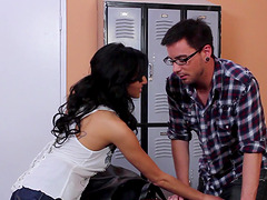 Guy with glasses gets lucky with lovely brunette Breanne Benson
