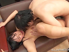 Busty Asian milf gets her vag banged through the hole in her pantyhose